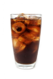 Drink cola with ice in glass on white background