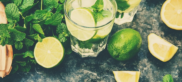 Drink lime and mint. photo. food.