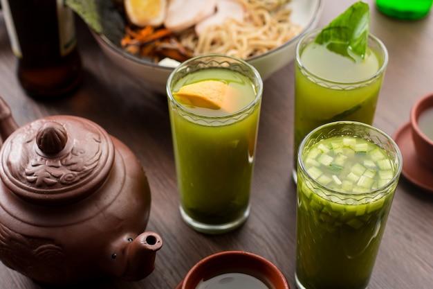 Drink tea match with orange in a restaurant