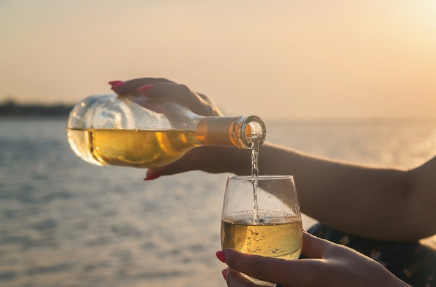 Drink wine by the sea