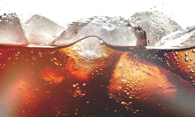Drink with ice cubes, close-up view