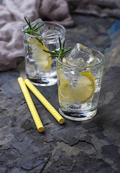 Drink with lemon and rosemary. selective focus