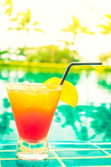 Drink with pool background