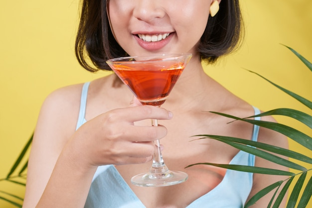 Drinking tasty cocktail