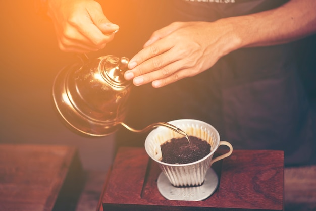 Drip brewing, filtered coffee, or pour-over is a method which involves pouring water over