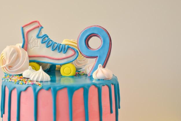 Drip pink birthday cake for 9 anniversary birthday