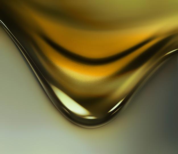 金の滴り落ちるクローズアップフルスクリーン。 3d画像。
