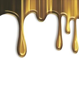 白い背景で隔離の滴る金色のペンキ