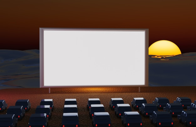 Drive in cinema with cars at night on the beach