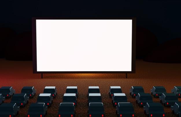 ビーチで夜に車で映画館をドライブします。