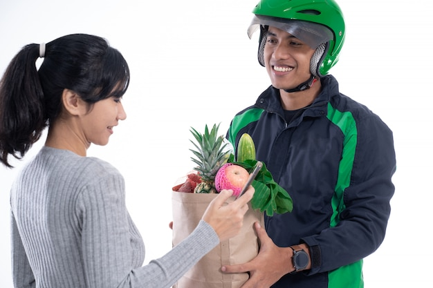 Driver courier with food sending online order to customer