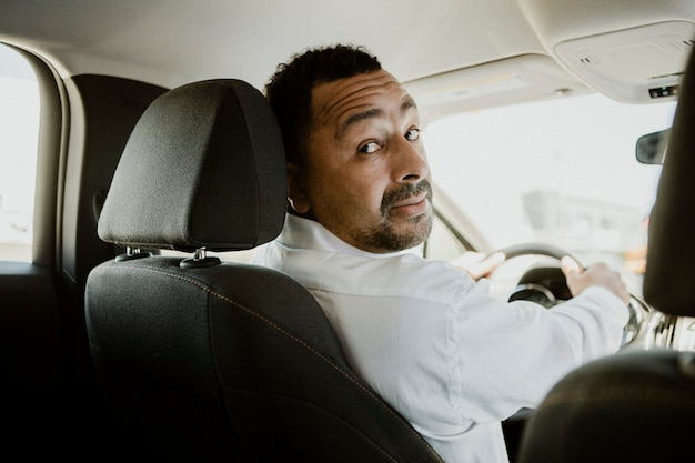 Driver talking to a passenger