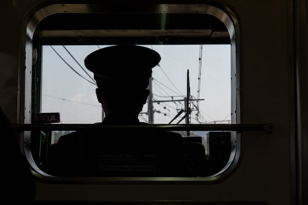 Driver view of railway in japanese, train conductor.