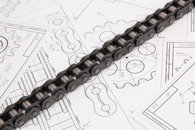 Driving industrial roller chain on a print engineering drawings
