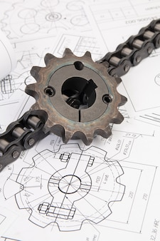 Driving industrial roller chain and sprocket on a print engineering drawings