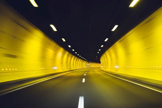 Driving inside tunnel, lyon, france