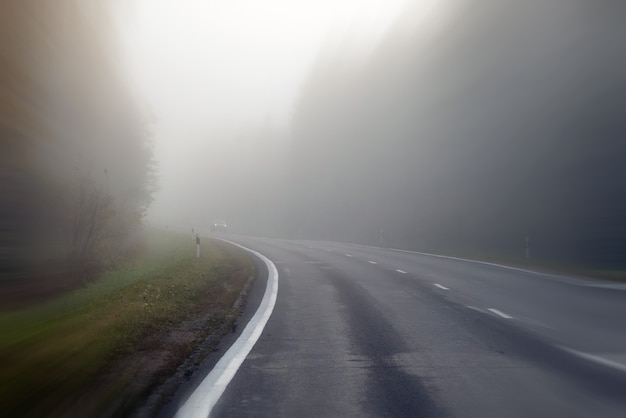 안개에 시골도로에서 운전. 악천후 시 운전의 위험에 대한 그림: 안개가 끼고 앞이 잘 보이지 않음