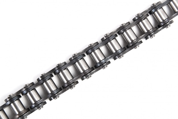 Driving roller chain isolated on white background