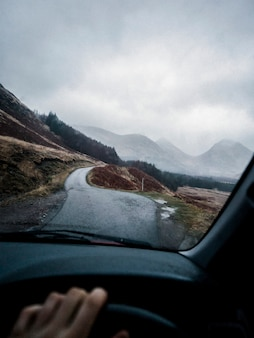 Driving through the highlands