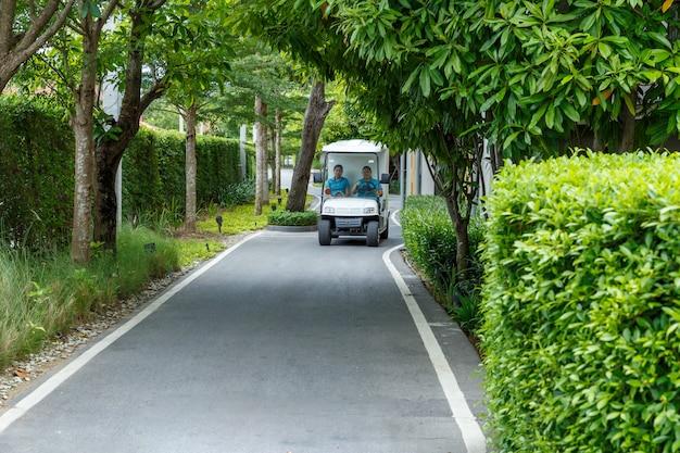 정원에서 화이트 골프 카트 또는 골프 클럽 자동차를 운전.