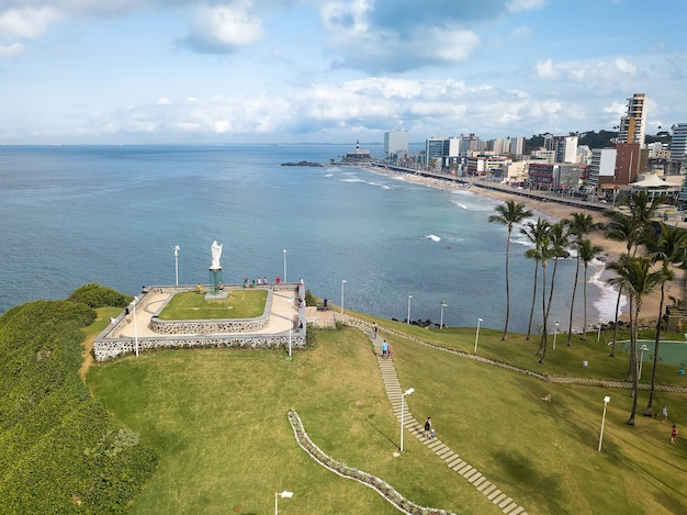 Drone aerial view of barra beach in salvador bahia brazil.