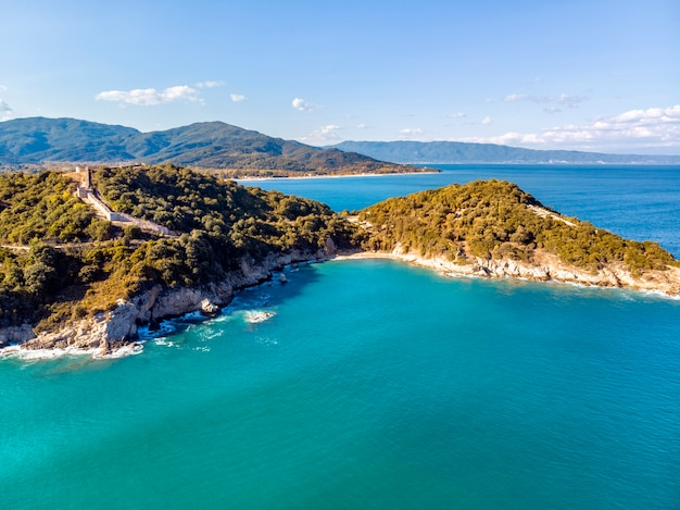 Drone aerial view of sea and rocks in olympiada halkidiki greece
