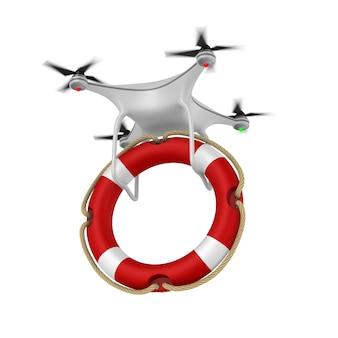 Дрон и спасательное кольцо на белом.