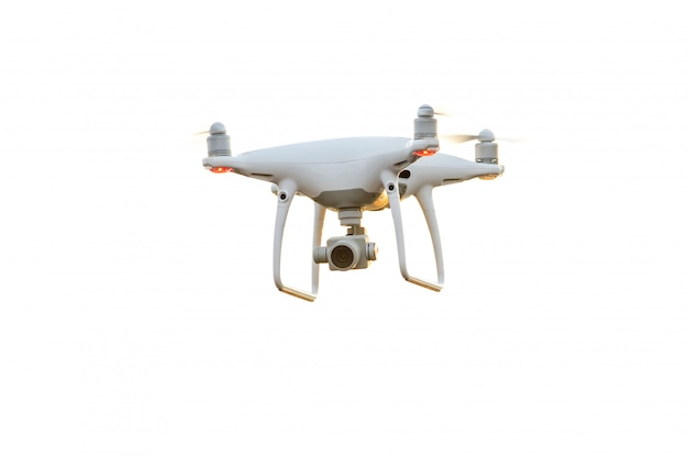 Drone copter flying with digital camera isolated