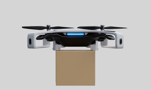 Drone delivery delivering on white background.