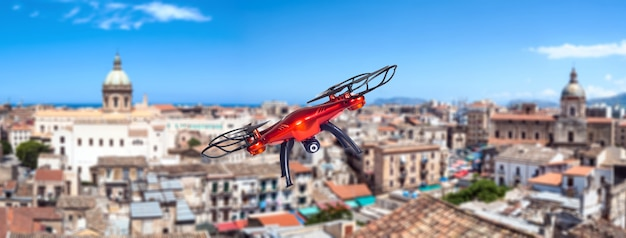 Drone flying over the city. palermo, sicily