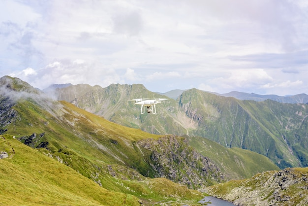 Drone flying in fagaras mountains