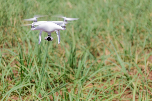 Drone flying at field. concept of technology in the farm.