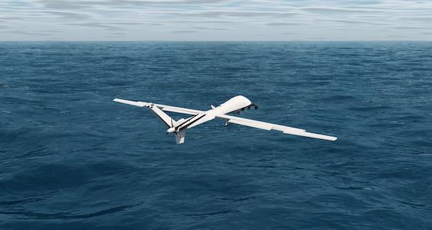 바다를 비행하는 드론 3d 렌더링