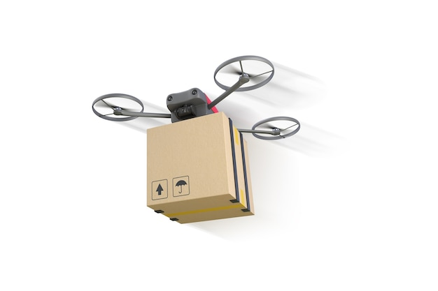 Drone flying with a cardboard box isolated