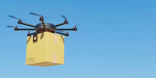 Drone flying with a cardboard package for home delivery