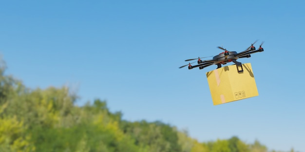 Drone flying with a cardboard package with a background of trees out of focus