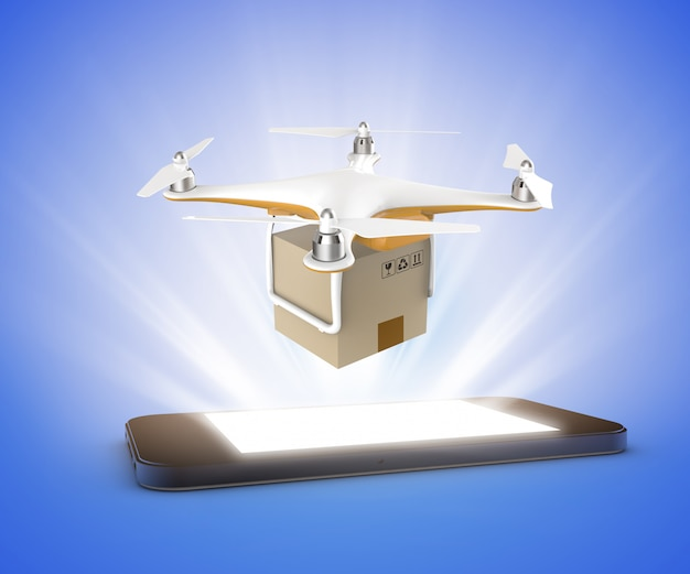 Drone flying with a delivery box package from a smartphone