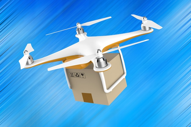 Drone flying with a delivery box package