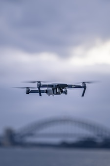 A drone hovering up above