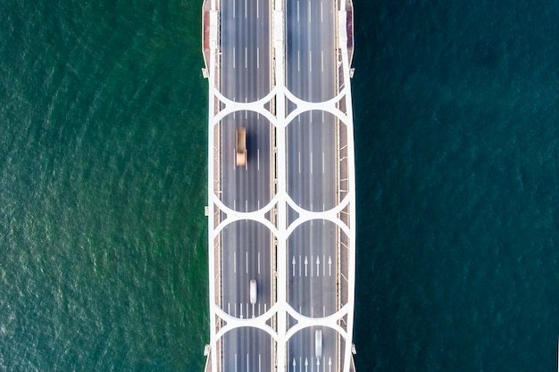 Drone looking down aerial bridge picture