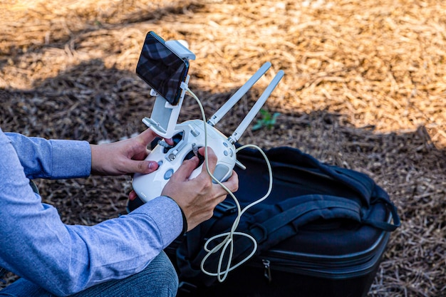 Drone remote control sync with mobile phone