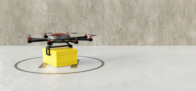 Drone on a runway taking off with a package for home delivery