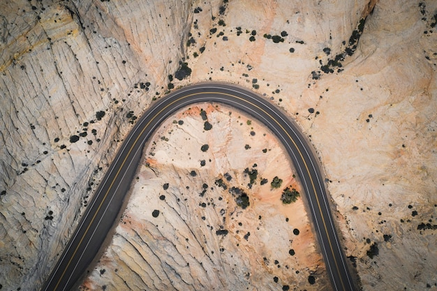 Drone shot of a desert road