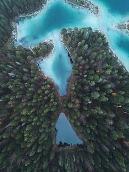 Drone shot of eibsee lake, germany