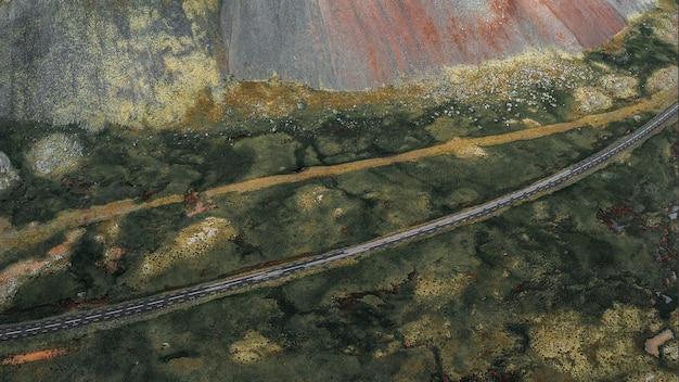 Снимок с дрона кольцевой дороги в исландии