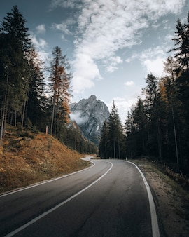 Drone shot of the road to dolomites, italy