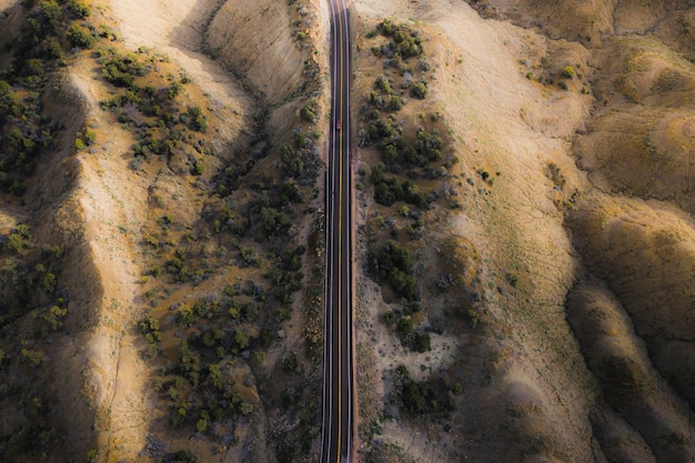Drone shot of a scenic route
