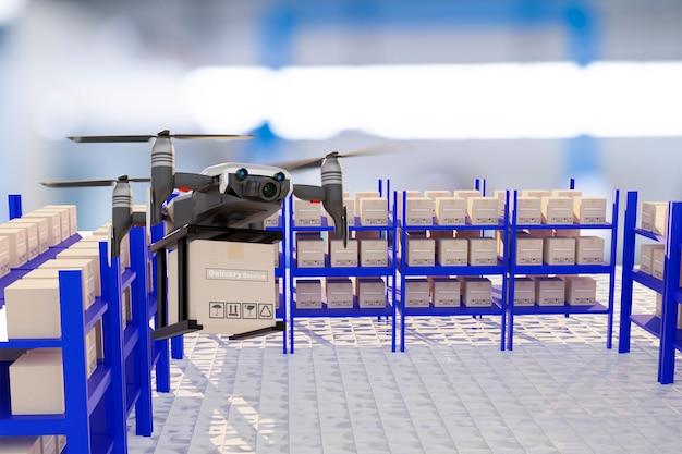 Дрон технологии инженерные устройства промышленность летающие в промышленной логистике экспорт импорт товаров доставка на дом логистика доставка транспорт транспорт или автозапчасти 3d-рендеринг