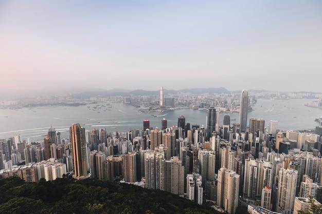 Drone view of hong kong