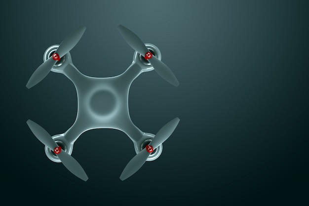 Drone, white quadrocopter on a dark background with copy space